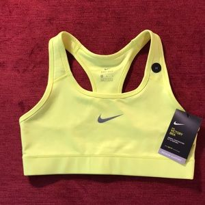 NWT Nike Pro neon yellow Victory sports bra